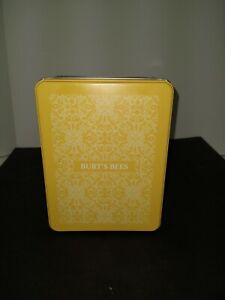 BURT'S BEES YELLOW Tin Metal Box w/ Lid ~