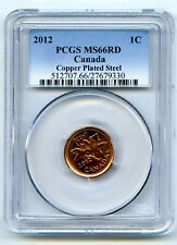 2012 CANADA CENT PCGS MS66 RD MAGNETIC STEEL HIGH GRADE ROTATED IN HOLDER