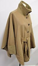 RENA LANGE Camel Cape Style Jacket w/ Sleeves & Knitted Collar - Large