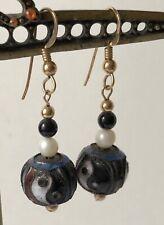 Estate Chinese Black White Yin-Yang Symbol Cloisonne Bead Pierced Earrings