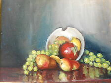 Fine Table Still Life Bowl with Fruit oil/Board Signed N. Bouteneff ca. 20th c