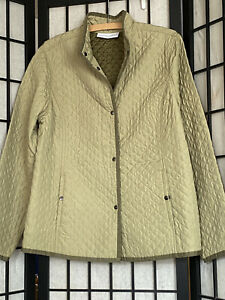 Liz Claiborne First Issue Womens XL Celery Green Quilted Jacket Button Up