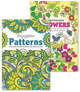 2 x MIND RELAXING COLOURING BOOK SET Adult Stress Relief FLORAL PATTERNS Therapy