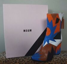 MSGM Orange Multi Patchwork Leather Midi High Heel Boots - size 36 / 6