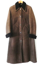 Vtg Antartex Sheep Skin Coat Mid-Calf Made in Scotland Dark Brown Pockets Size S