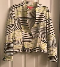 Gabriells Molinari Women's Size 8 Cropped Jacket Coat Striped Black Yellow