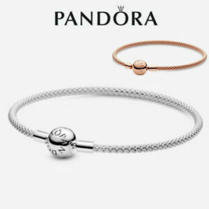 ALE S925 Genuine Silver Pandora Moments Mesh Bracelet With Box & Polishing Cloth
