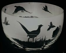 More details for pheasant frieze 12cm boxed crystal glass bowl