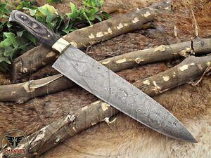 Custom Handmade Damascus steel kitchen chef knife with Dollar Sheet Handle.