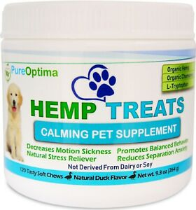 PureOptima Calming Treats for Dogs 120 Soft Chews,Anxiety,Thunderstorm,Car Ride