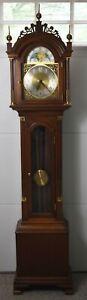 Colonial Mfg Company Mahogany Roxbury Style Grandfather Clock made Zeeland, Mich