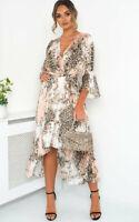 IKRUSH Anya Printed Floaty Maxi Dress  LHT PINK UK S/M