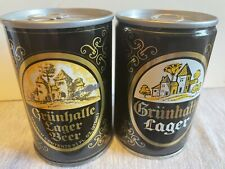 Grunhalle Lager - Empty Air Sealed Pull Tab Beer Cans - Lot (2)