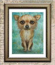 Chihuahua Dog Fine Art Watercolour Painting,Chiwawa A4 by Monica LaTanya