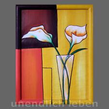 Holzbild Blumenvase surrealistisch Schnitzbild Blumen Bild Wandbild Wandschmuck