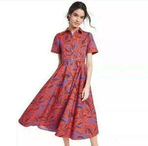 Alexis for Target Tropical Leaf Print Short Sleeve Shirtdress Orange Size Medium