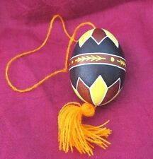 Hand decorated Easter real chicken Egg Pysanka Western Ukrainian with thread