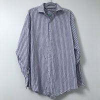 Brooks Brothers Makers and Merchants White Blue Pink Stripe Men Shirt 16.5 - 35