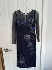 Monsoon navy mesh sequinned evening dress 8