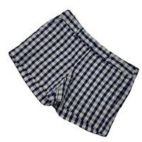 Ann Taylor Loft Blue & White Gingham Print Mid Rise Shorts Size 4 Cotton/Spandex