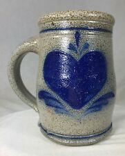 "Rowe Pottery Blue Heart Beer Mug Stein Salt Glazed Stoneware 5.5"" Wisconsin"