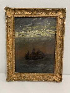 Antique 1909 Signed Oil on Board Stormy Seascape Painting w/ Sailboat Ship