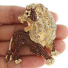Brown King Roaring Lion Brooch Pin Animal Topaz Austrian Crystal Gold Tone Women