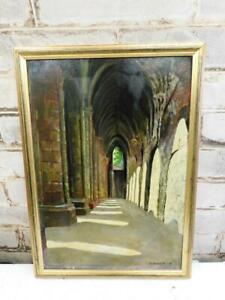 VINTAGE old PAINTING oil THE CLOISTERS signed