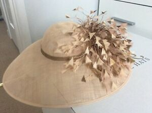 Formal Hat with feathers for wedding or special occasion. Flesh & Gold. Stunning