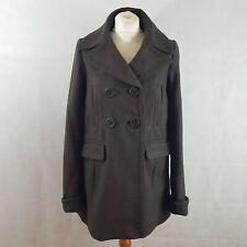 Comptoir Des Cotonniers Womens Coat Brown 36 UK 8 Wool Double Breasted Collared