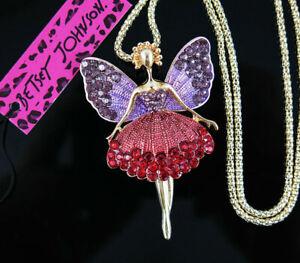 Betsey Johnson Enamel Ballet Girl Fairy Angel Wing Pendant Sweater Necklace
