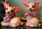 """Vintage Christmas Kimple Reindeer Quilted Pair 2 Ribbons on Necks Marked 4 1/2"""""""