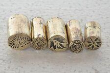 5 Pc Old Brass Unique Cut Design Different Rangoli Making Tools , Rich Patina