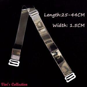 1 Pair Adjustable Detachable Transparent Clear Invisible Bra Straps Metal Hook