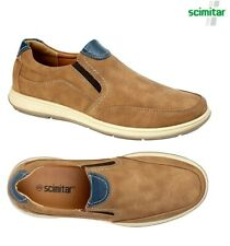 Men's Twin Gusset Casual Slip On Loafers Tan Scimitar Shoes Size 6 - 13 UK