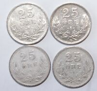 1914 x 2 & 1937 x 2, 25 Ore Sweden Silver a Lot of 4 Value Coins