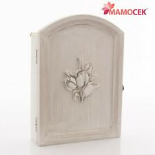 caebb623d8 PORTACHIAVI a muro parete legno bianco grigio Tulipani Anta 5 ganci Shabby  chic
