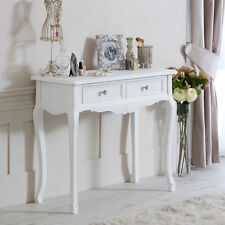 White wood console dressing table shabby vintage chic bedroom hall furniture