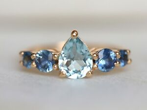 18k Pear Cut Aquamarine and Blue Sapphire engagement Promise Cluster Ring