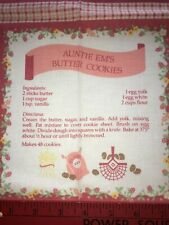 Vtg Wamsutta Hallmark Recipe Fabric Panel Auntie Em's Pie Pink Farm Chickens