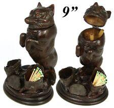 "Rare Antique Victorian Era Black Forest Carved 9 1/4"" Smoker's Stand, FOX Figure"