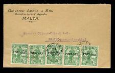 MALTA 1929 GIOVANNI ABELA ADVERT ENVELOPE + POSTAGE SURCHARGE to CZECHOSLOVAKIA