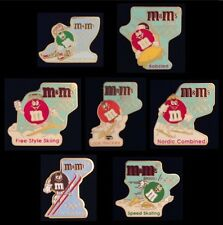 Lot/Set of 7 Olympic M&M Pins~Badge~Albertville Winter Games~1992~Sponsor~Mars