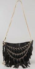 Foley + Corinna Women's Tassel Fringe Cross-Body BLACK gold chain 880731 NEW