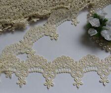 "2-3/8"" Antique White / Ivory Venise Floral Scallop Fringe Lace-Per Yard (T678I)"