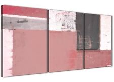Blush Pink Grey Abstract Painting Canvas Art Print - 3 Set - 125cm Wide - 3334