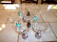 Lot of Eight Bombay Fabrique' en Chine Blown Art Glass Goblets