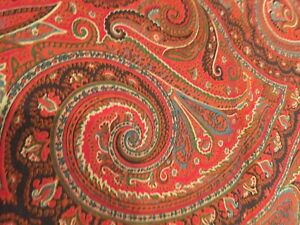 Gorgeous Vintage Ralph Lauren Red Paisley Fabric, 2.25 yards