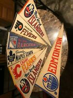 NHL Lot of 7 Vintage 1970's Hockey Pennants 12 x 30 Full Size