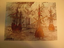 Caravels, Engraving 16th Century,Biblioteca National,  Lithograph Reproduction